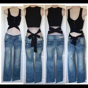 NWT Ribbed Crop Snaps Lace Tie Up Tank Top